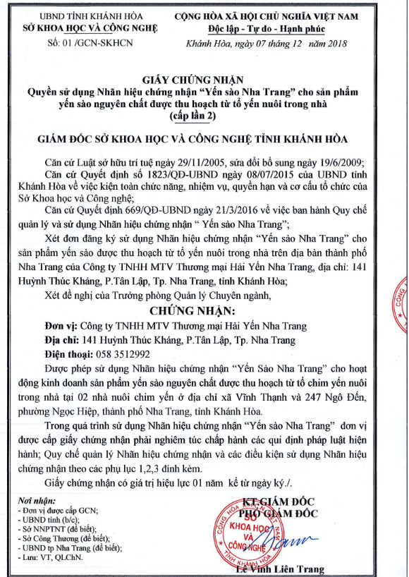 "The Hai Yen is recognized Trademark "" Nha Trang Salanganes' nest "" for the 2nd in a row"